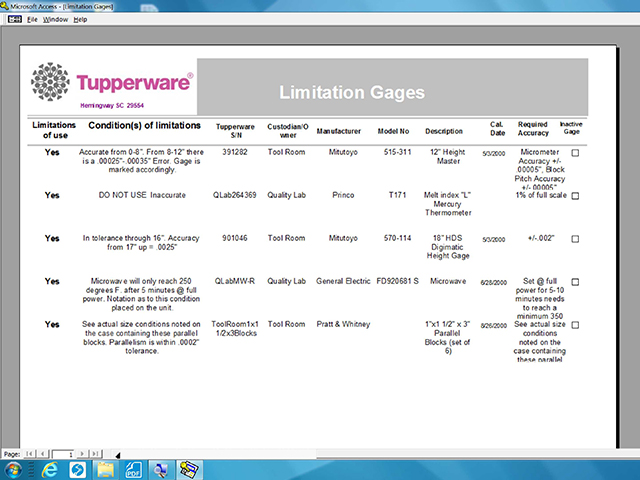 Gage Management software 1